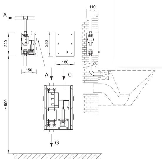 Schéma - BSAZ 01 antivandalový splachovač klozetov