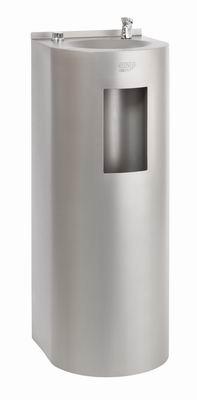 AFO 01.SL nerezová pitná fontánka s výdajom vody i do fľaše, určená na postavenie ku stene