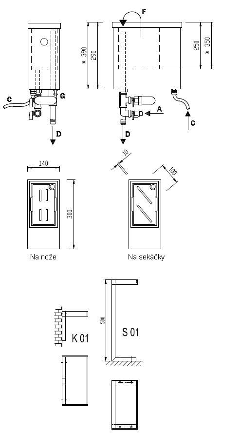 Schéma - ST 01, STS 01 sanitačná nádoba ponorná
