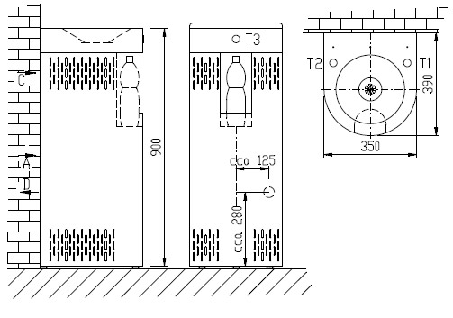 Schéma - AFO 01.SCL nerezová pitná fontánka s chladením a výdajom vody do fľaše, na postavenie ku stene