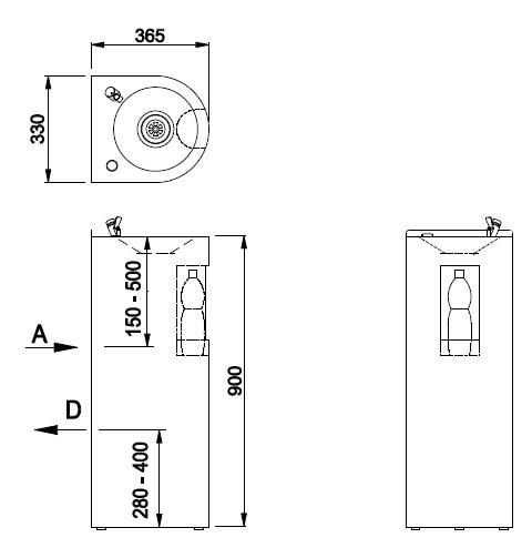 Schéma - AFO 01.SL nerezová pitná fontánka s výdajom vody i do fľaše, určená na postavenie ku stene