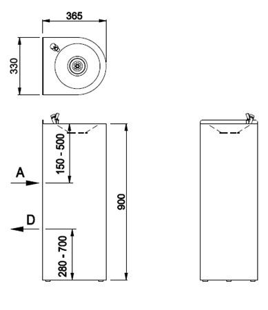 Schéma - AFO 01.S nerezová pitná fontánka s tlačným ventilom na postavenie ku stene
